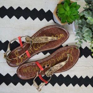 Sam Edelman Gigi Snake Leopard Pink Sandals
